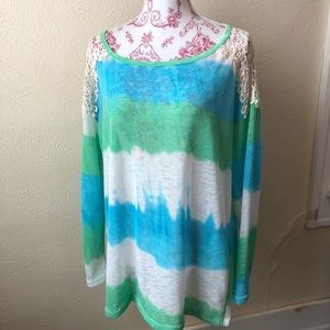 Auditions Tie Dyed Lace Shoulder Top L Green Blue